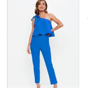 Missguided One Shoulder Bow Jumpsuit